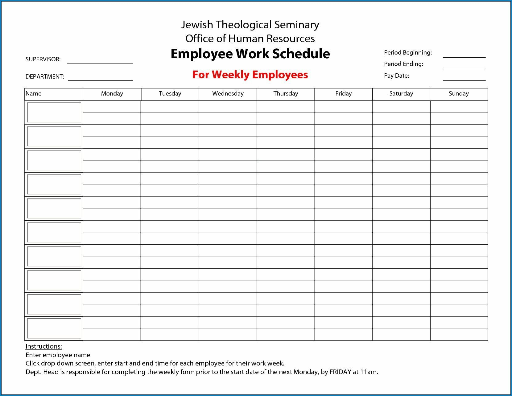 009 Fascinating Employee Schedule Template Free Image