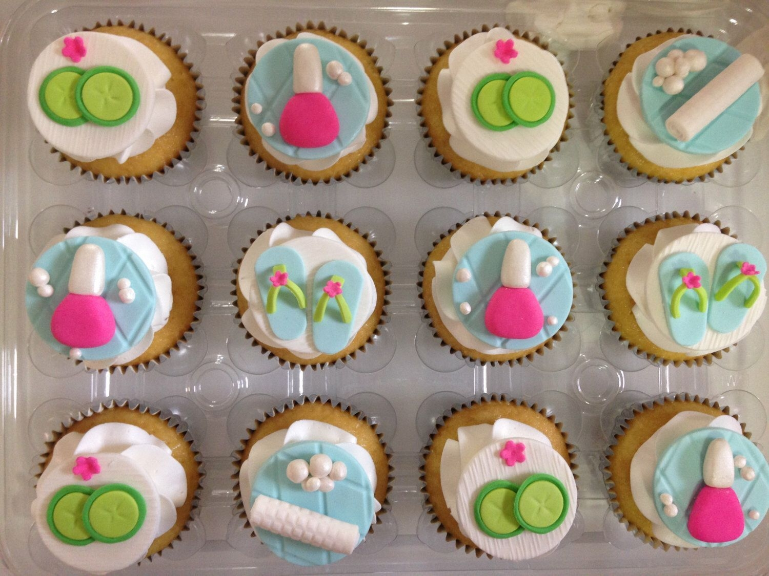 1 Dozen Of Spa Themed Fondant Cupcake Toppers By