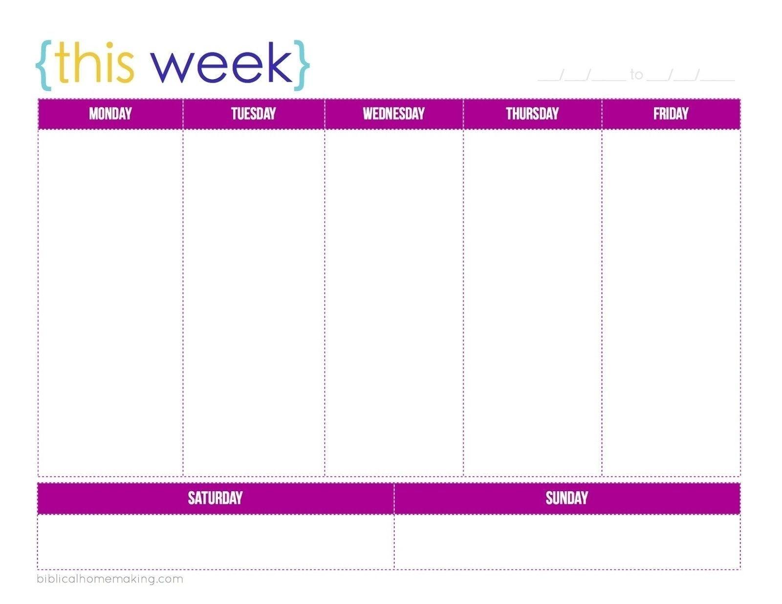 1 Week Blank Calendar Template | Holidays Calendar Template