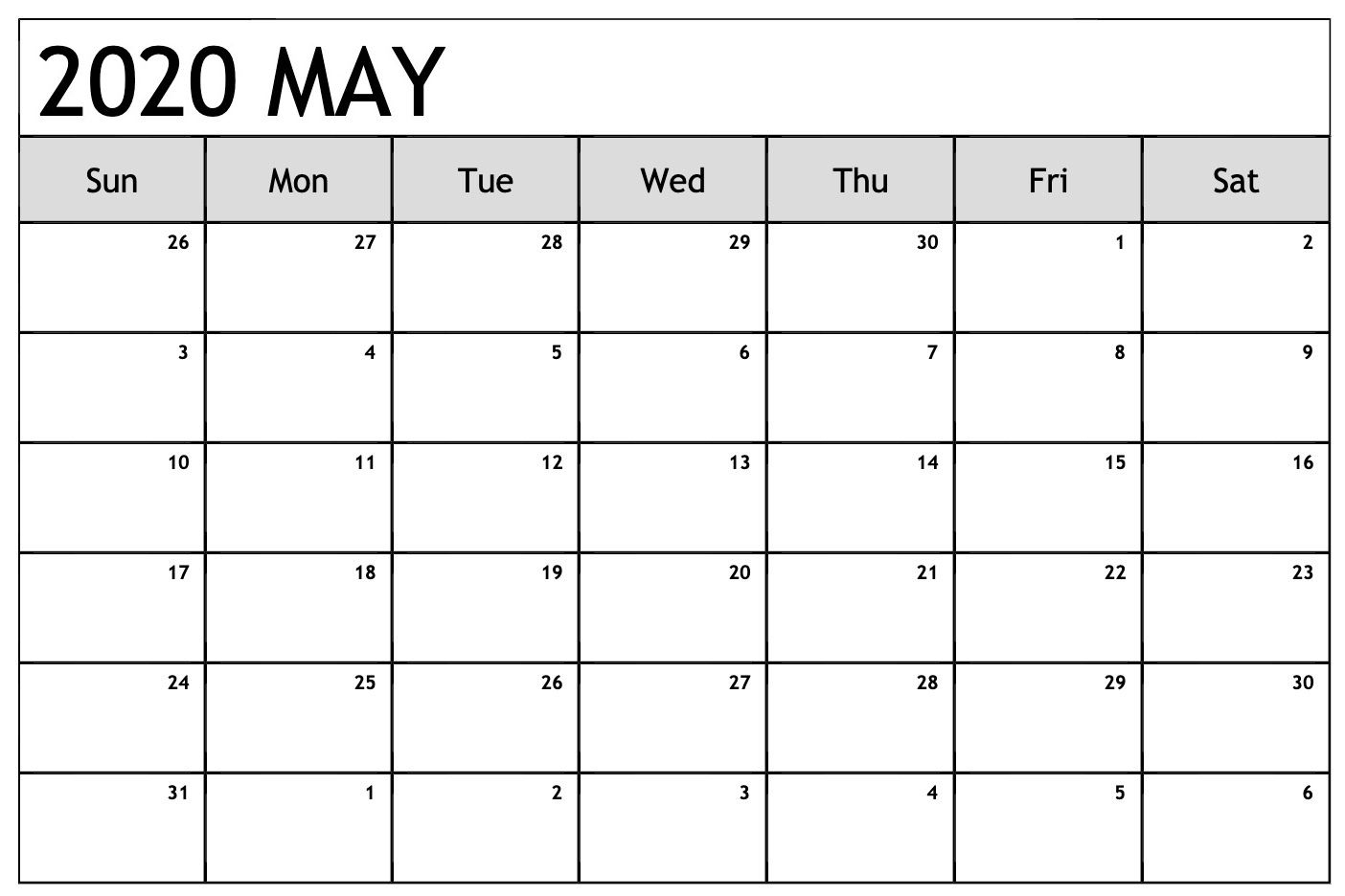 10 Best Editable May 2020 Calendar | Printable Calendar