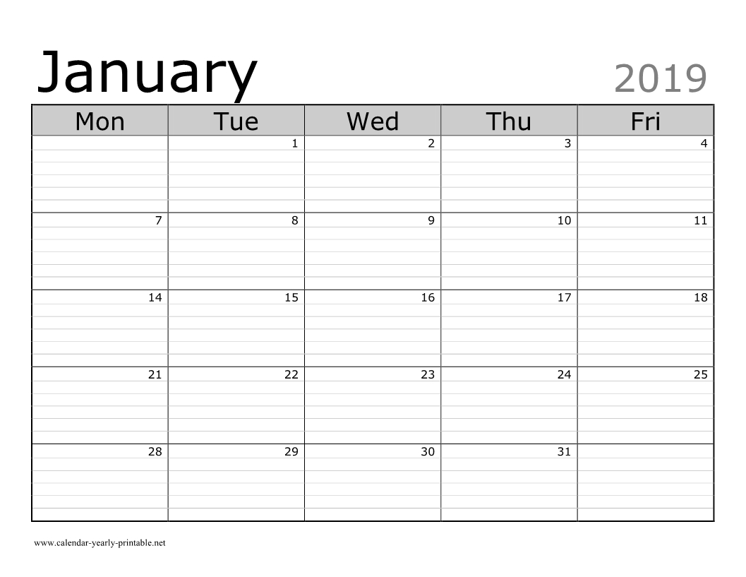 10 Plus January 2019 Calendar With Attractive Design