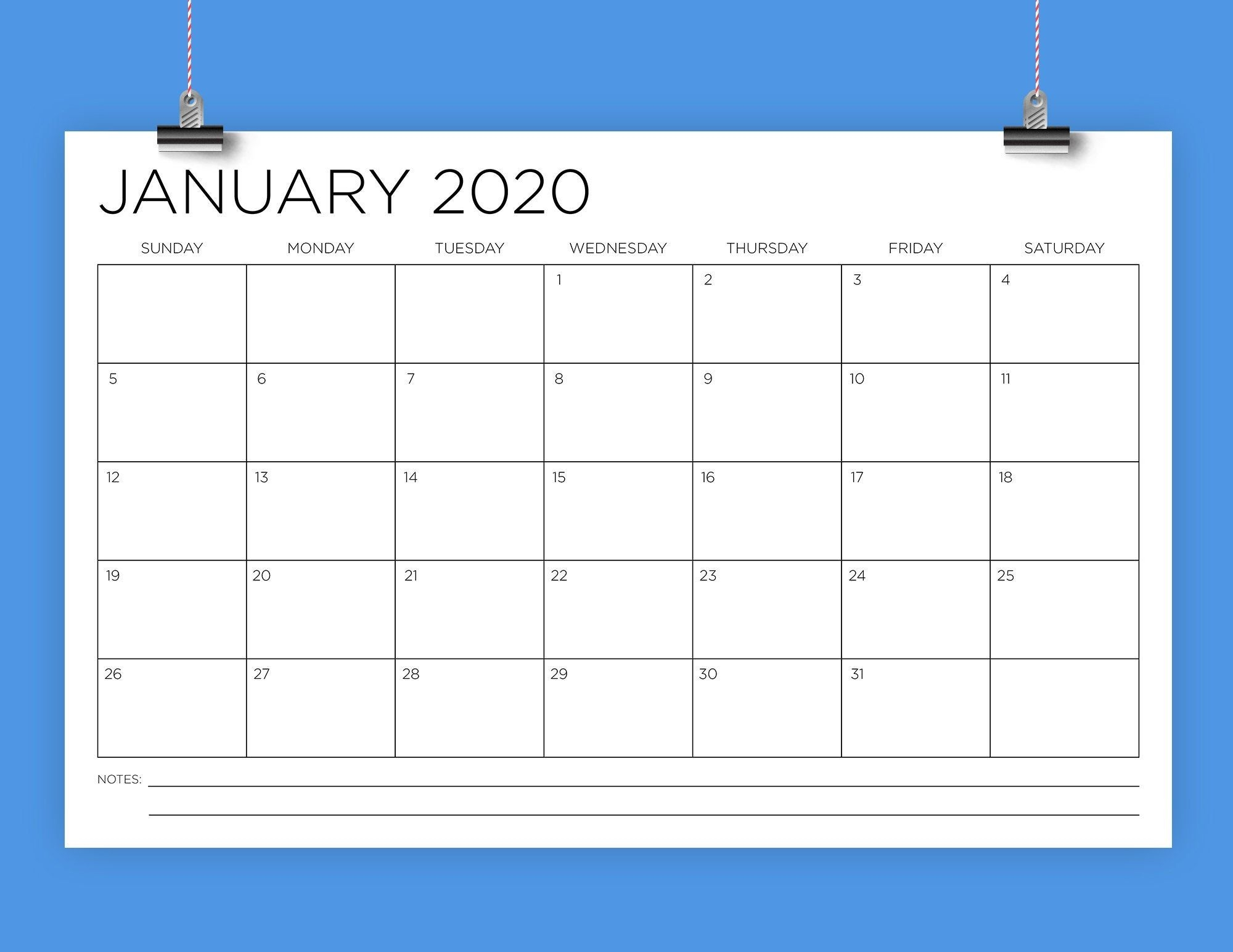 11 X 17 Inch 2020 Calendar Template | Instant Download Thin Sans Serif Type  Monthly Printable Minimal Desk Or Wall Calender Print Ready