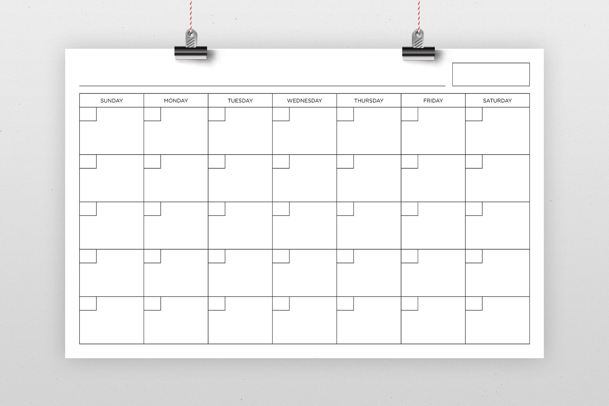 11X17 Inch Blank Calendar Page Template By Running With