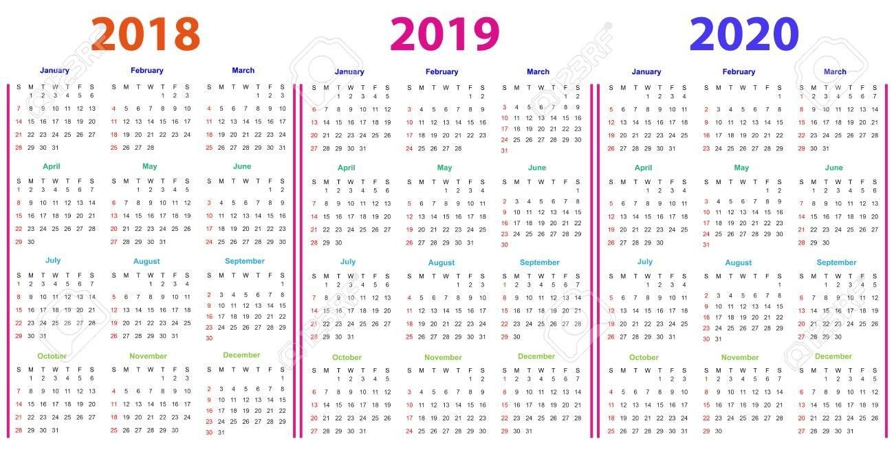 12 Months Calendar Design 2018-2019-2020 Printable And Editable.