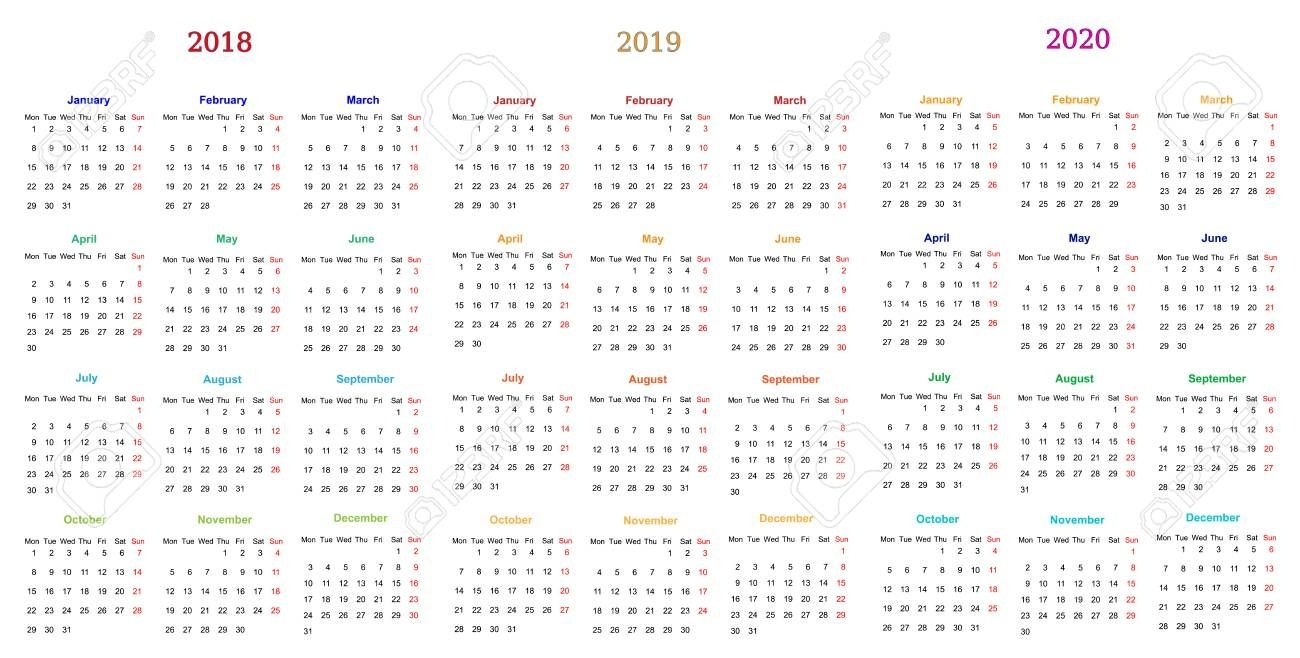 12 Months Calendar Design 2018-2019-2020 Printable And Editable
