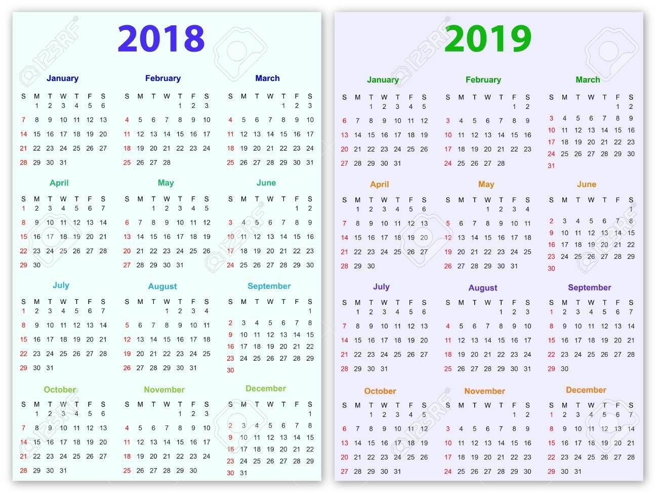 12 Months Calendar Design 2018-2019 Printable And Editable.