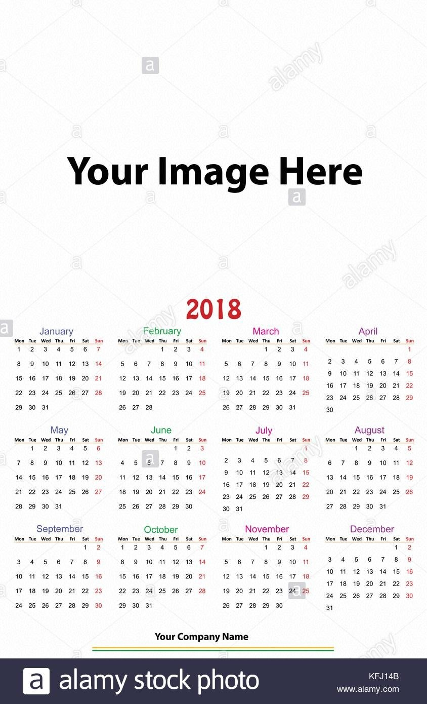 12 Months Calendar Design 2018 Printable And Editable Stock