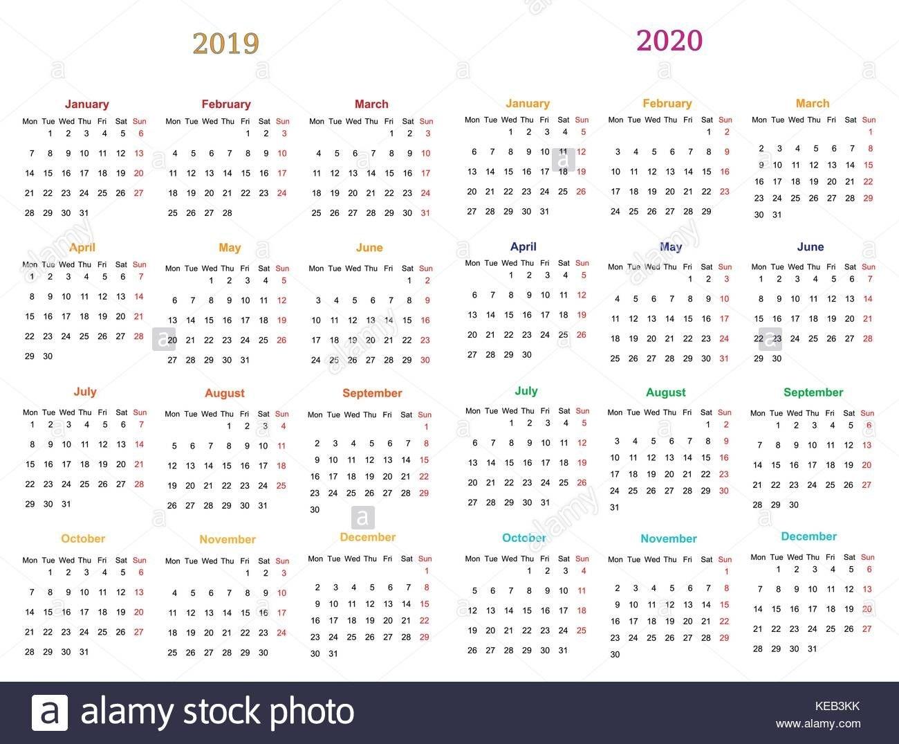 12 Months Calendar Design 2019-2020 Printable And Editable
