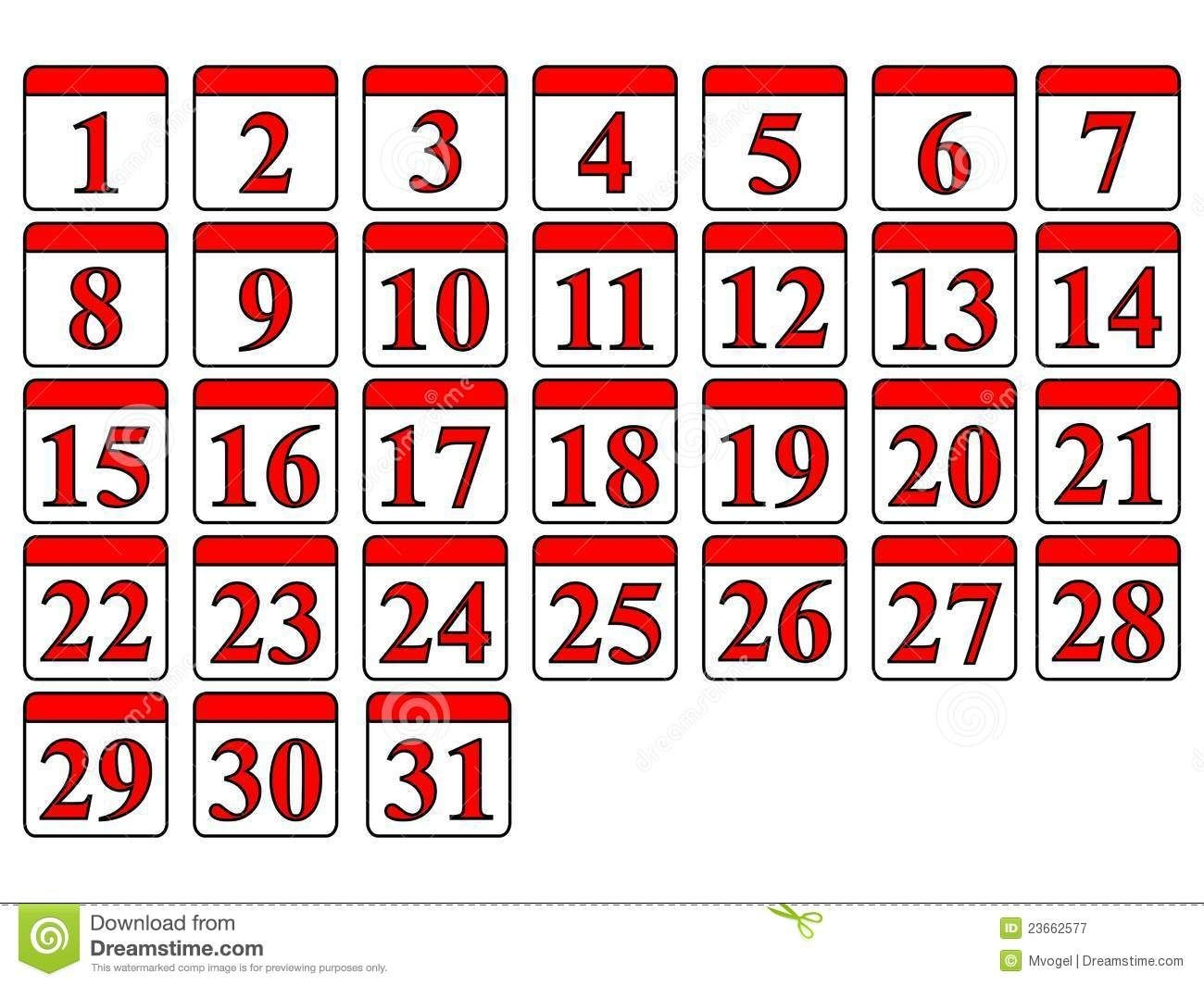 13 Printable Calendar Numbers Free Download Sets - Induced