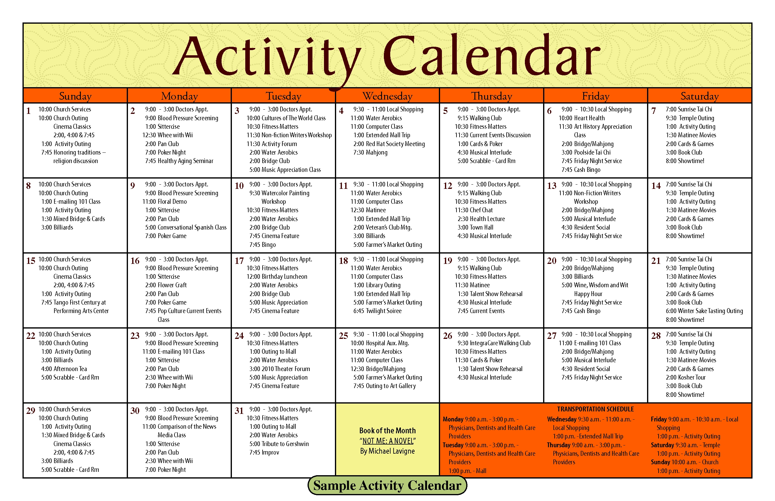 14 Blank Activity Calendar Template Images - Printable Blank