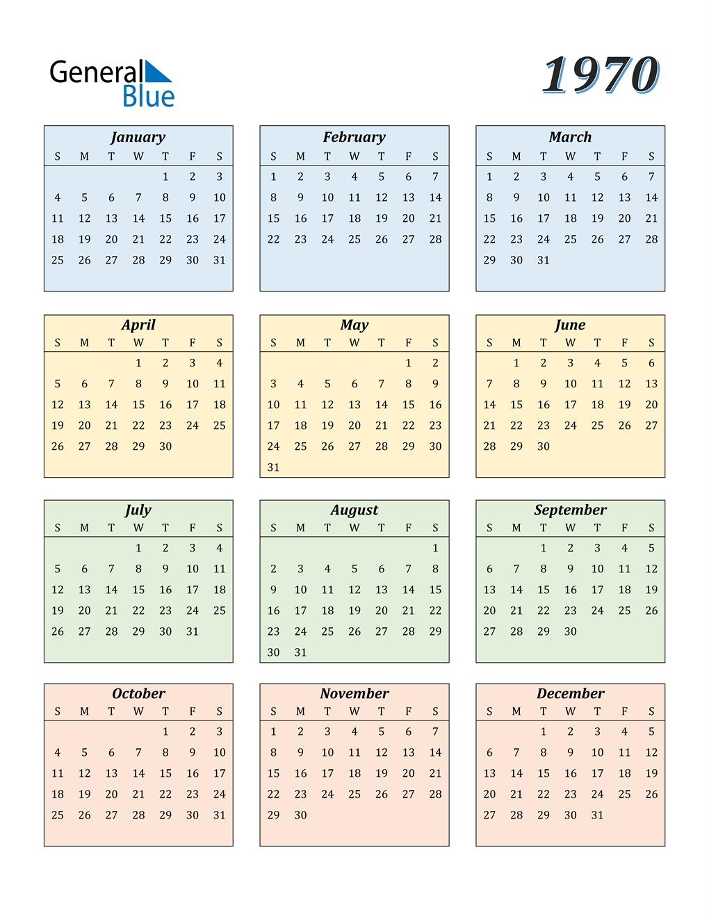 1970 Calendar (Pdf, Word, Excel)