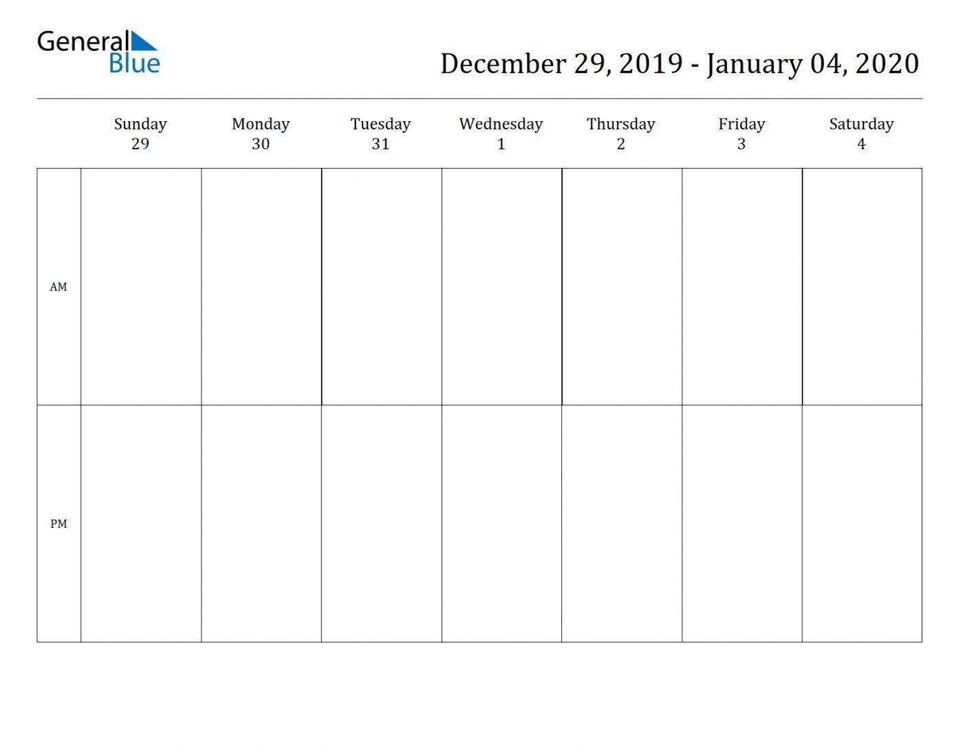2 Week Blank Calendar 2020 Printable Di 2020 (Dengan Gambar)