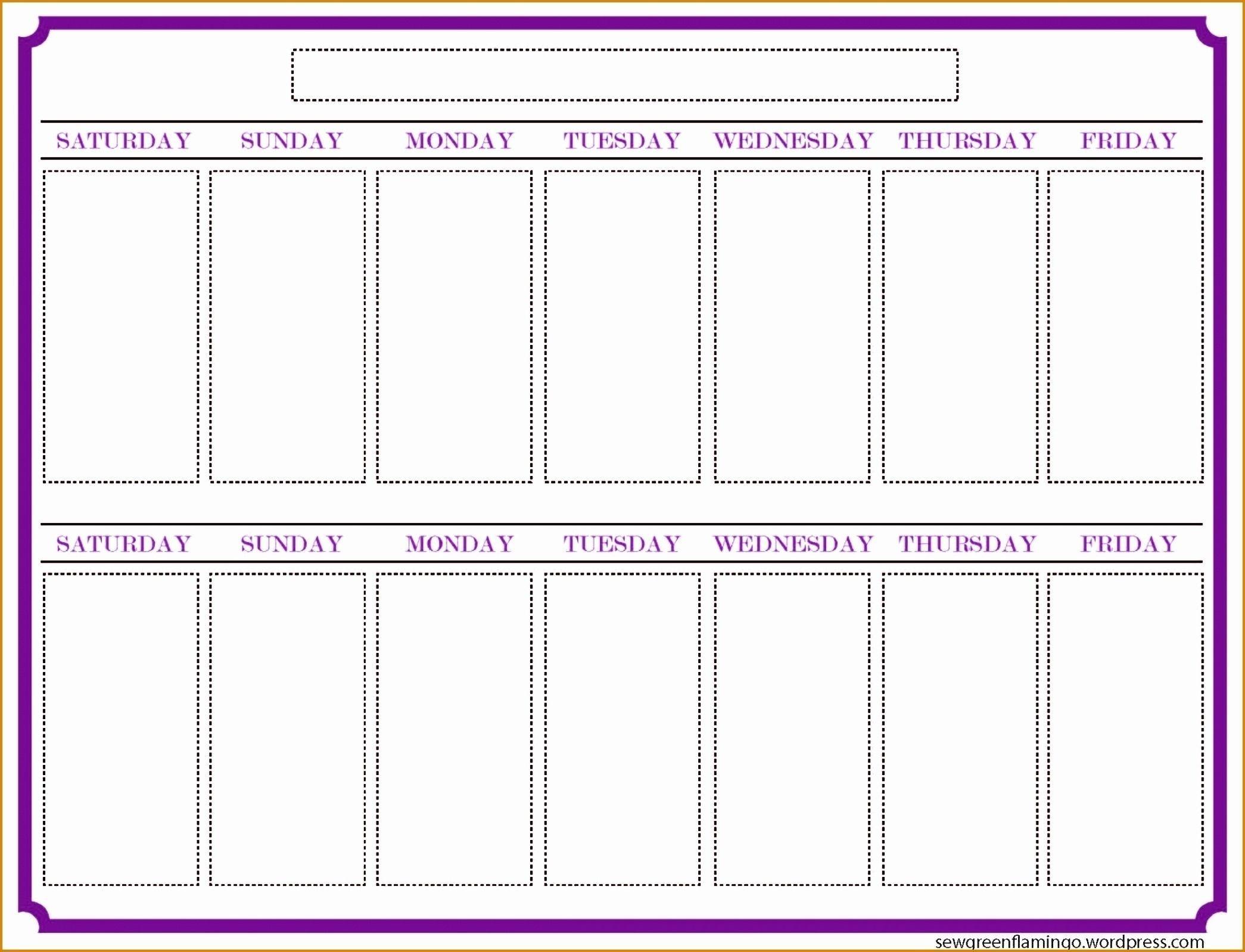 2 Week Blank Calendar Printable – Template Calendar Design