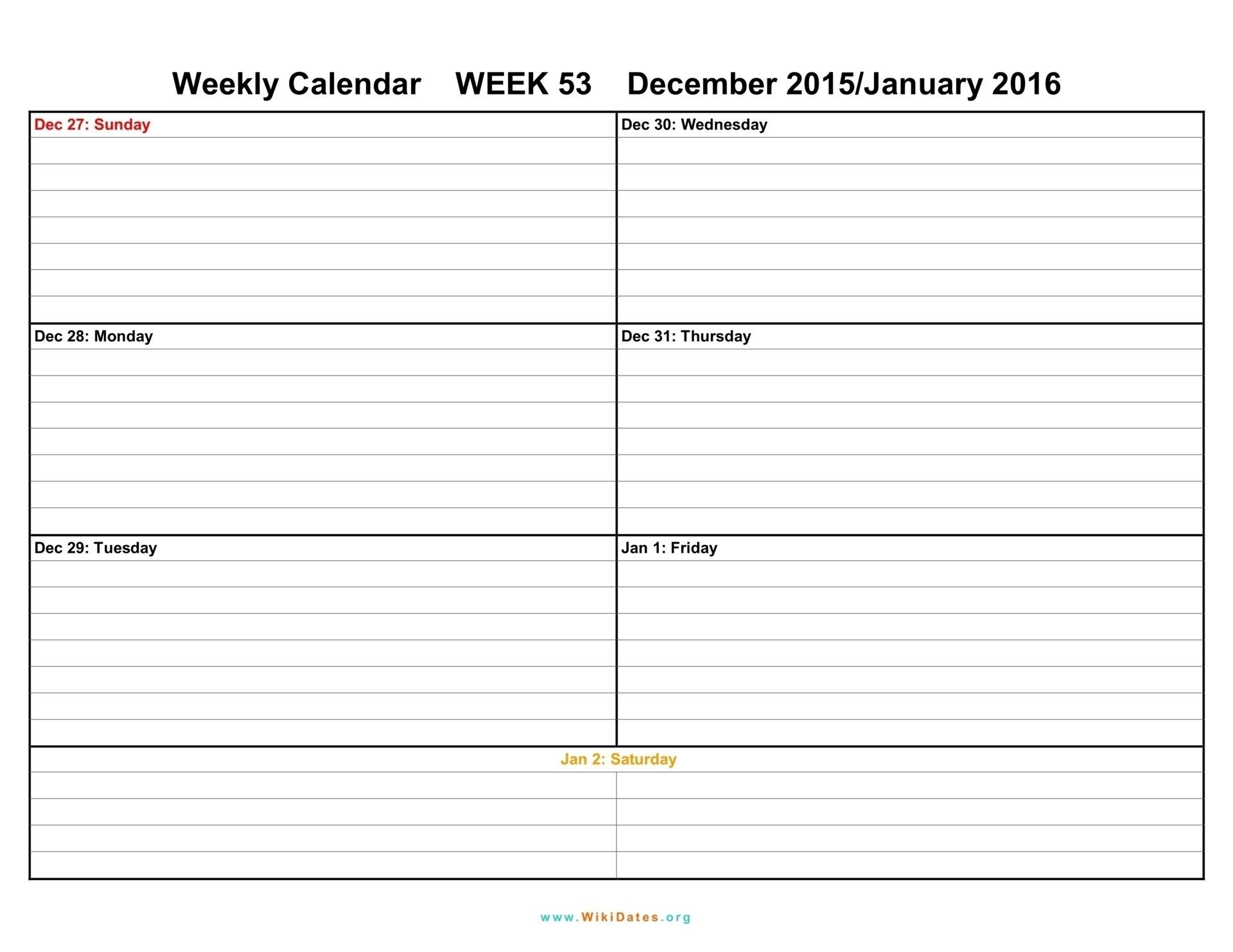 2 Week Calendar Template Excel | Free Calendar Template Example