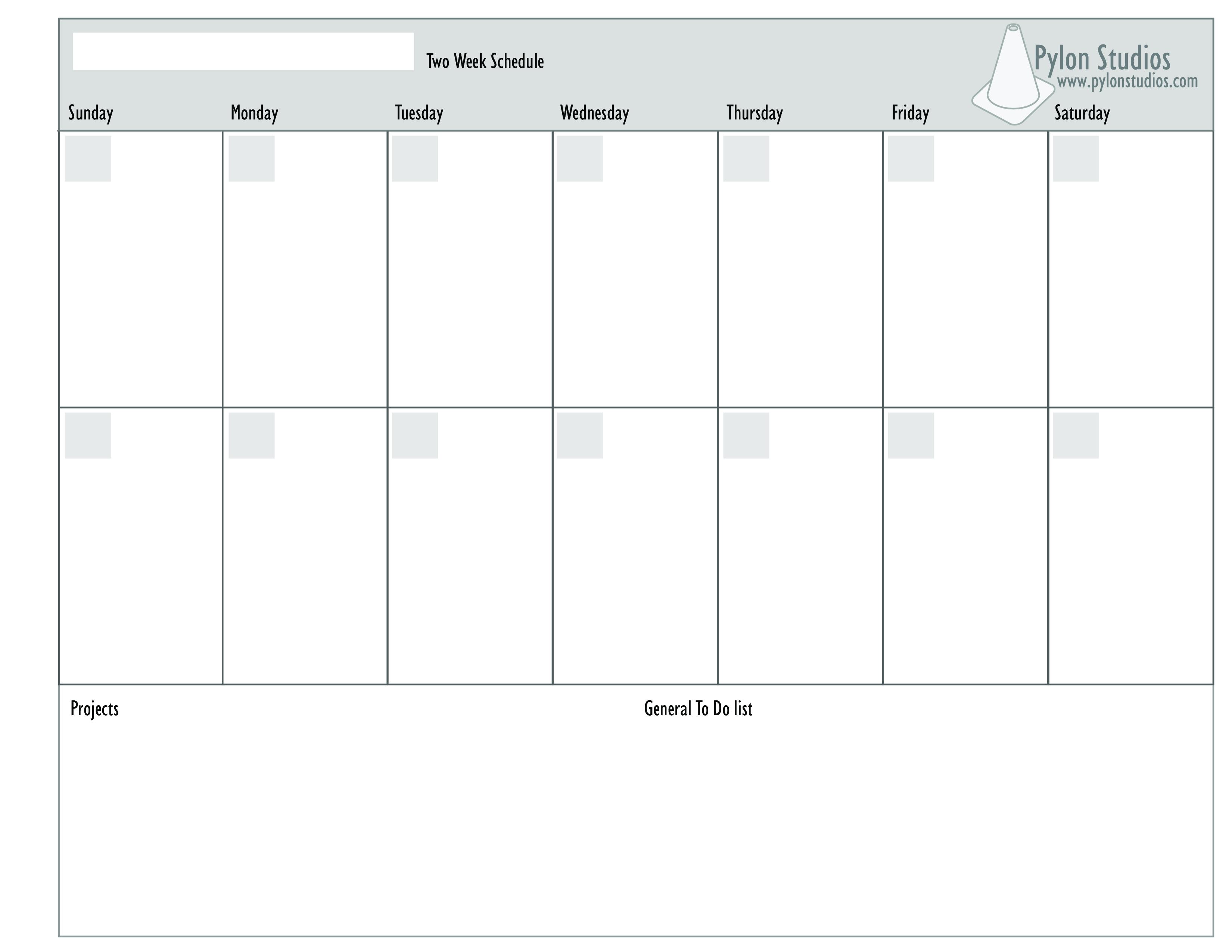 2 Week Calendar   Templates At Allbusinesstemplates