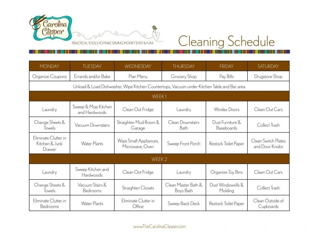 2-Week Cleaning Schedule With Blank To Make Own. Blogger