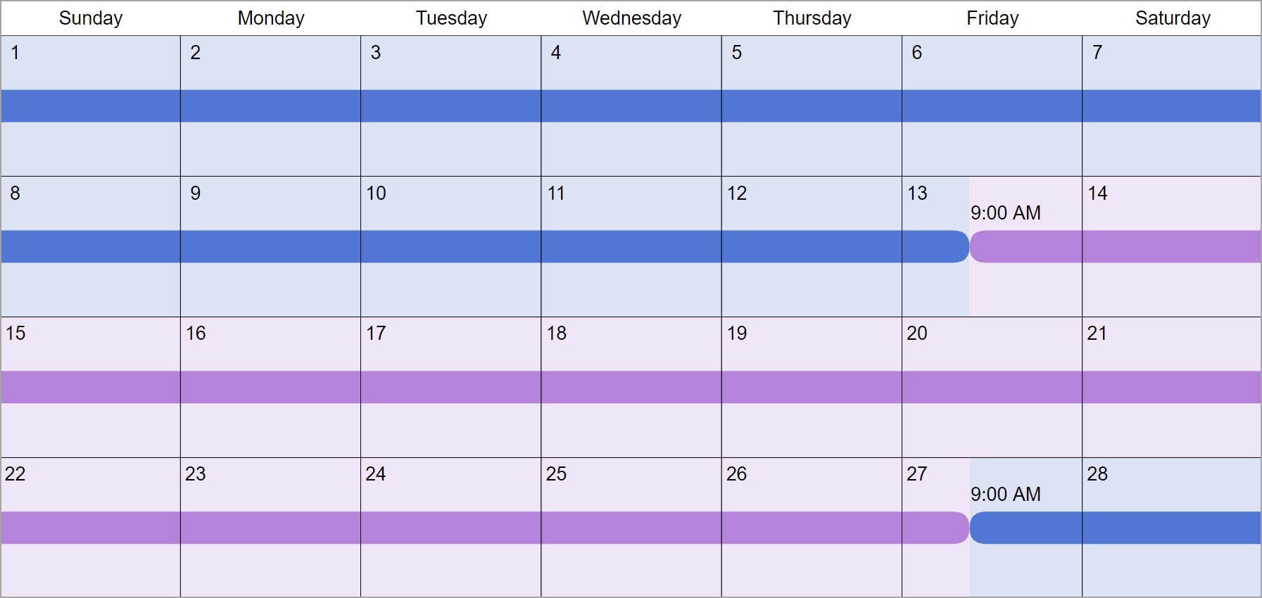 2 Weeks Each Custody & Visitation Schedule Examples: Create