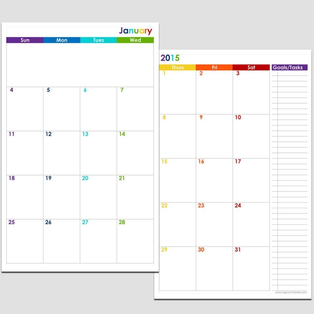 2015 12-Month 2 Page Calendar - Half Size | Legacy Templates