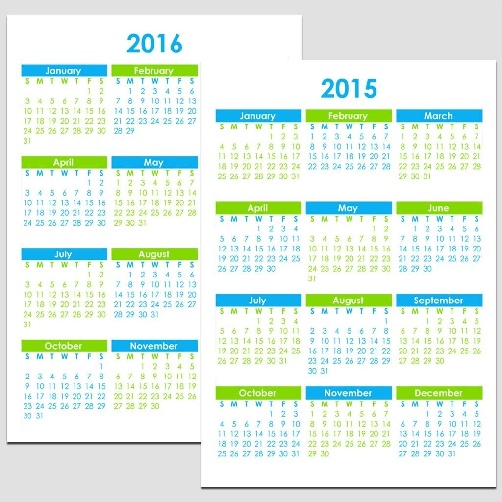 "2015 & 2016 Yearly Calendar - 5 1/2"" X 8 1/2"" 