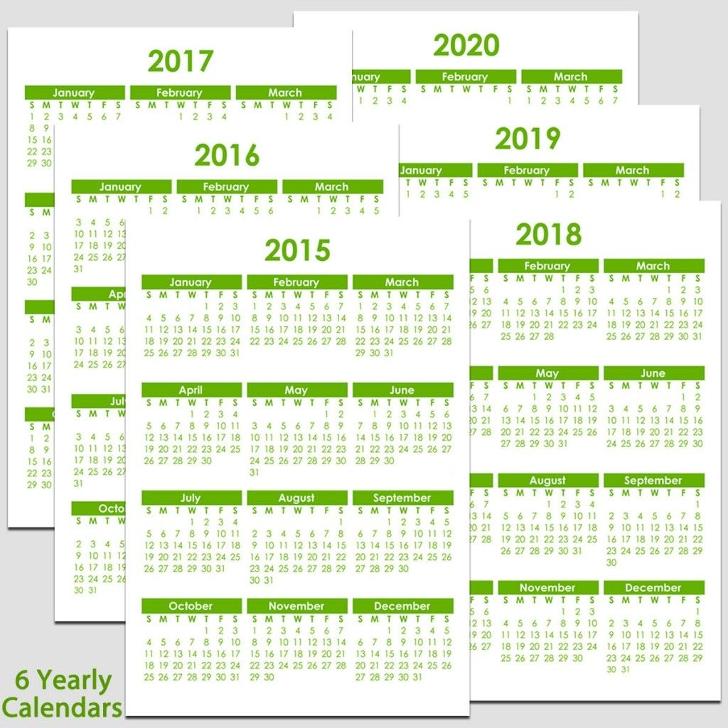 """2015 & 2020 Yearly Calendar - 5 1/2"""" X 8 1/2"""" 