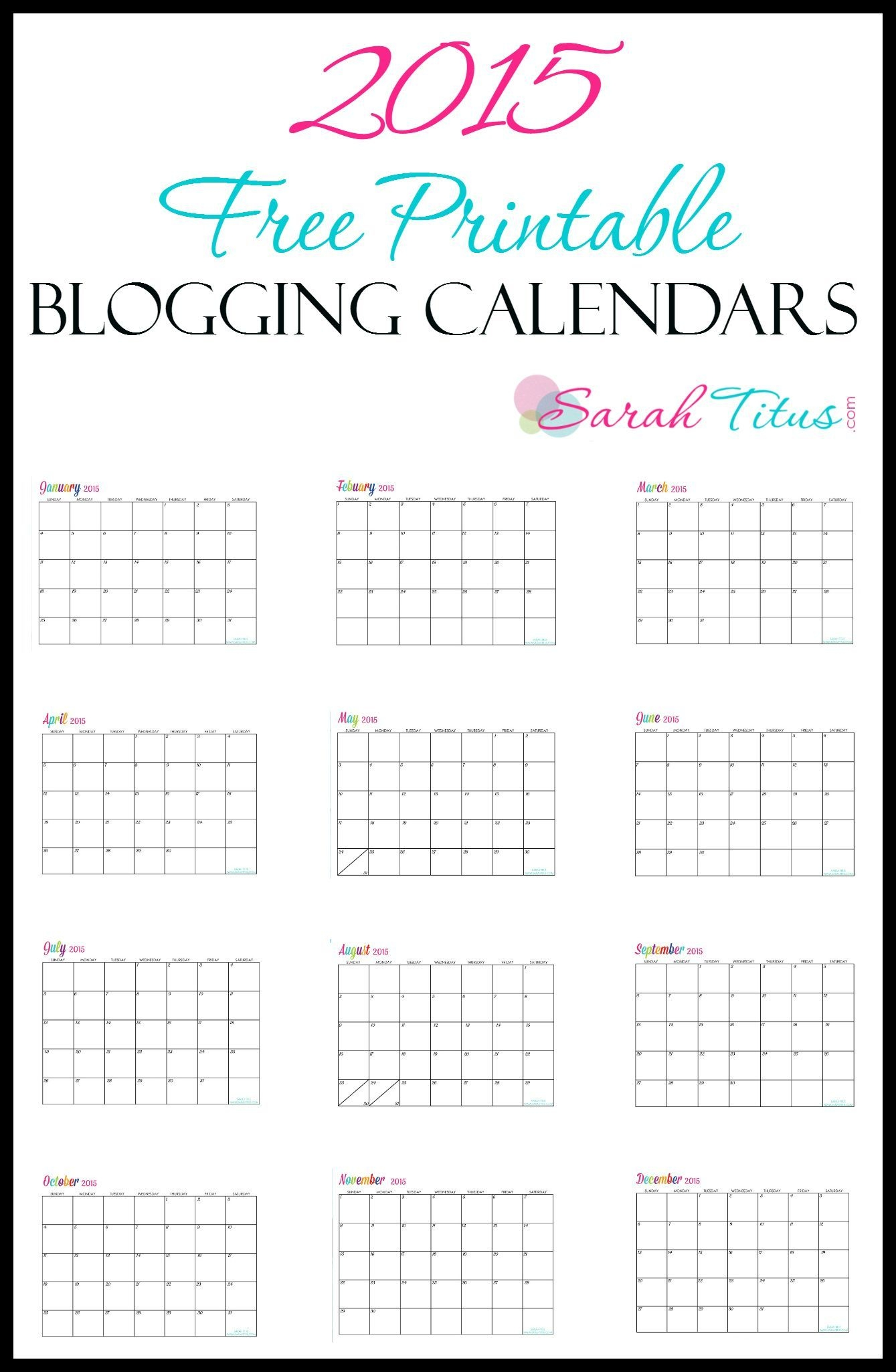 2015 Free Printable Calendars! You Can Edit Them All You