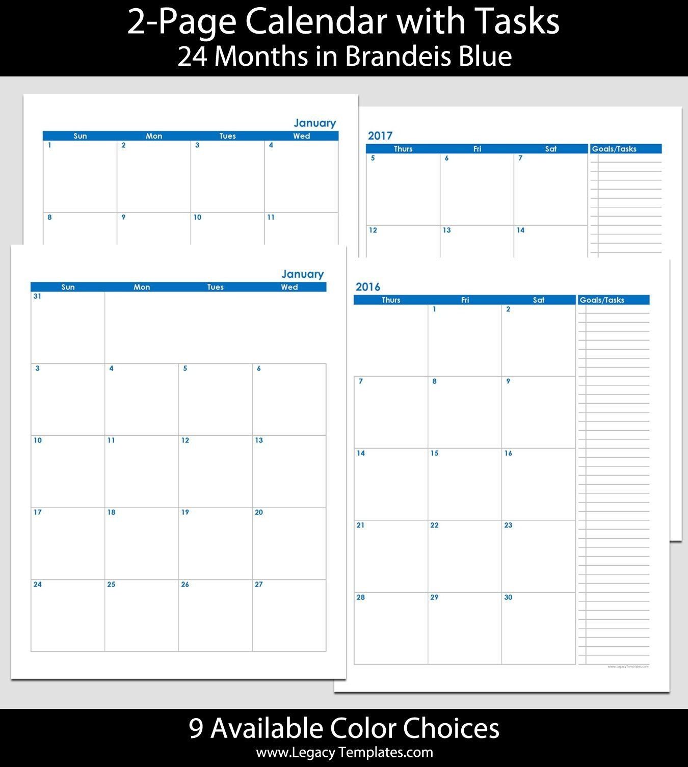 2016 & 2017 24-Month 2-Page Calendar – 8 1/2″ X 11″ | 2016