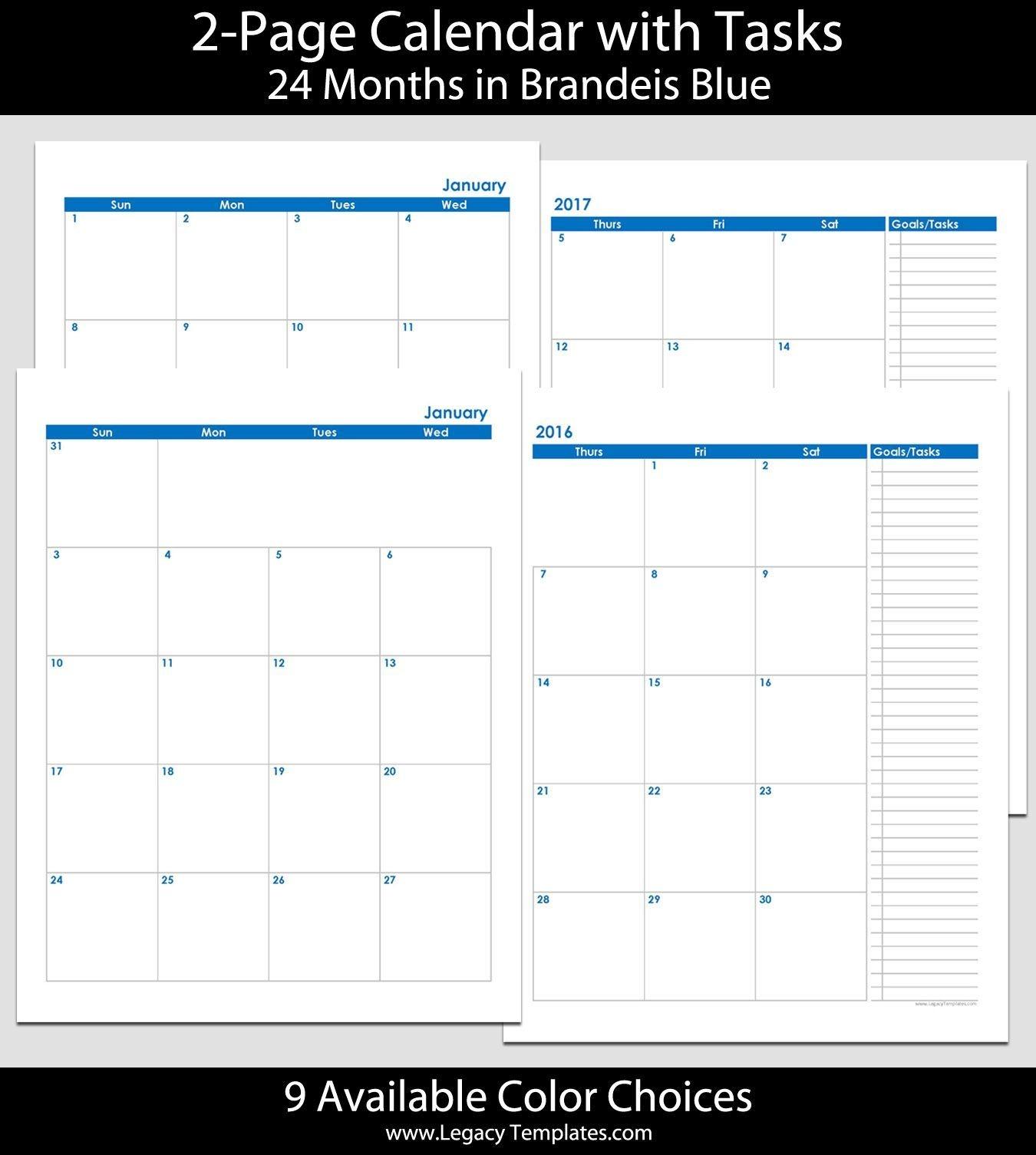 2016 & 2017 24-Month 2-Page Calendar – 8 1/2″ X 11″ | 2016