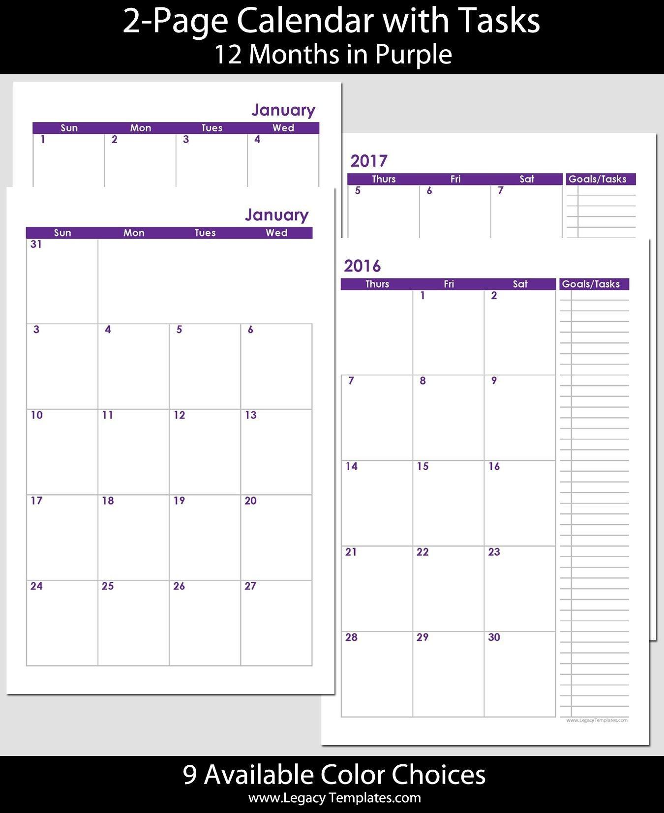 2016 & 2017 Printable 24-Month 2-Page Calendar - Jr/half