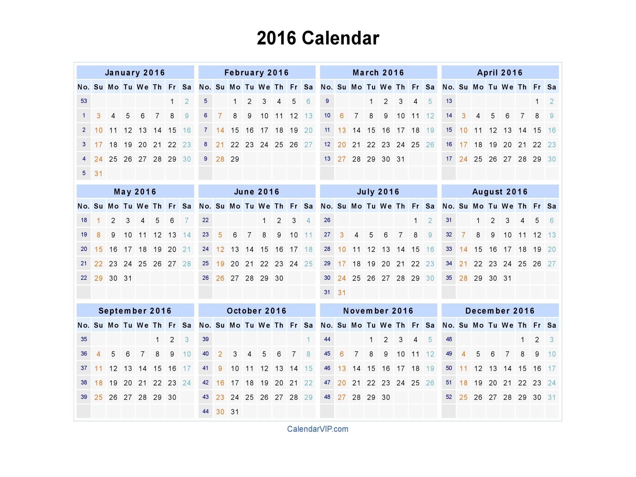 2016 Calendar - Blank Printable Calendar Template In Pdf