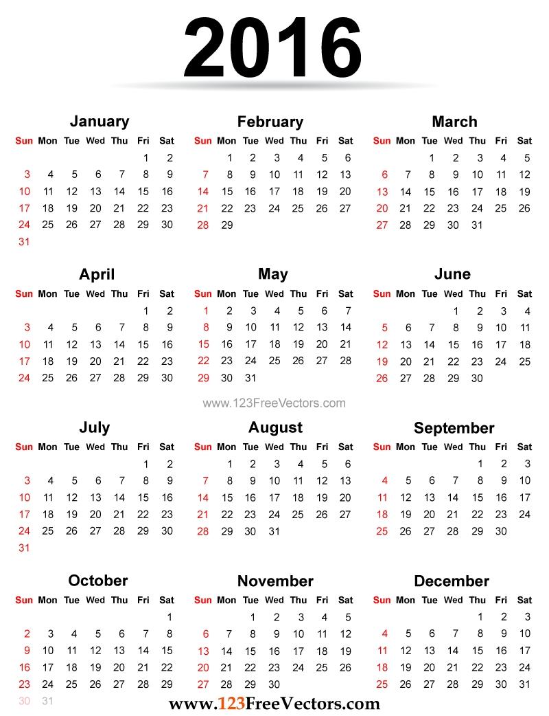 2016 Calendar Printable Free | Download Free Vector Art