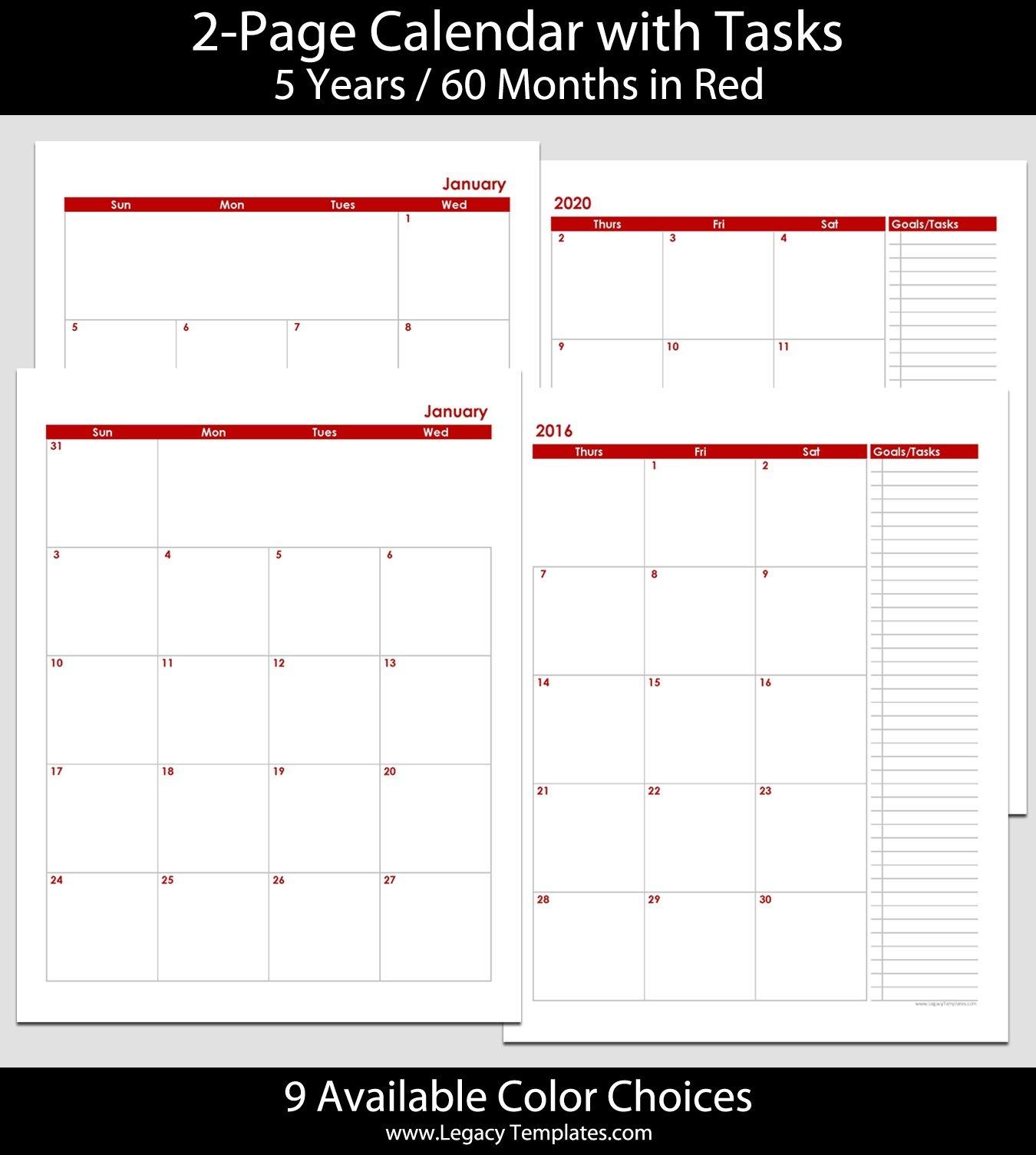 2016 Thru 2020 60-Month 2-Page Calendar – 8 1/2″ X 11