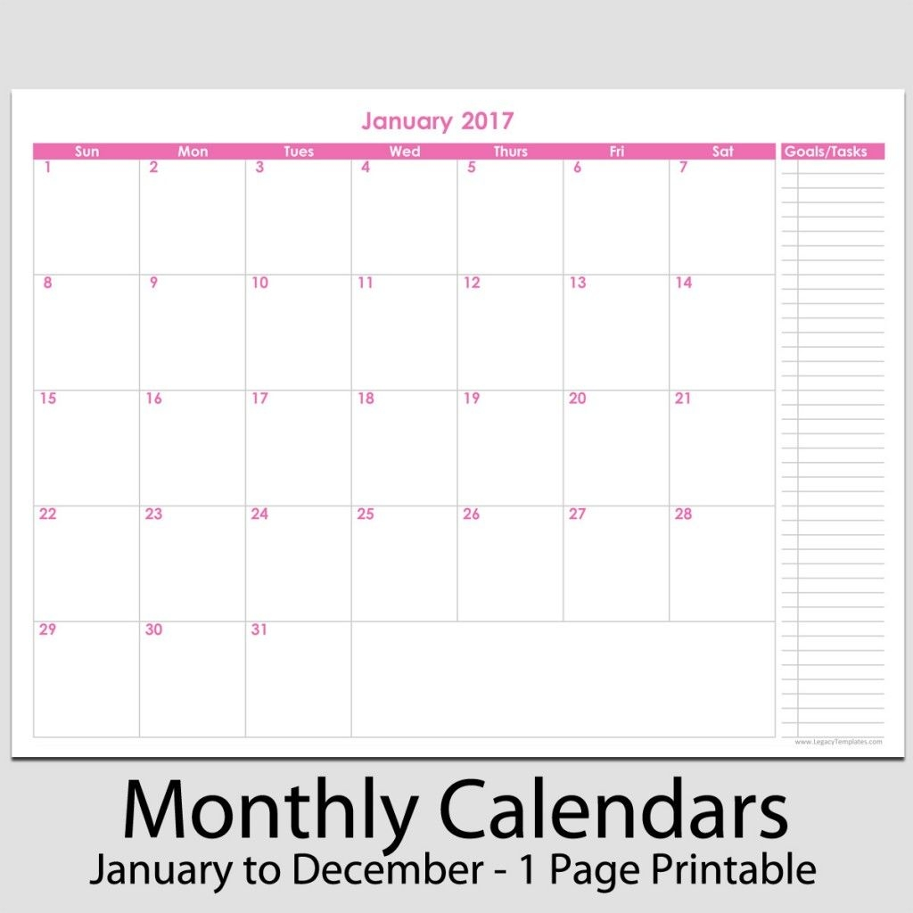 """2017 - 12 Month Calendar With Tasks - 8 1/2"""" X 11""""   Legacy"""