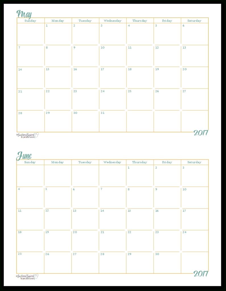2017 Half-Size Monthly Calendar Printables