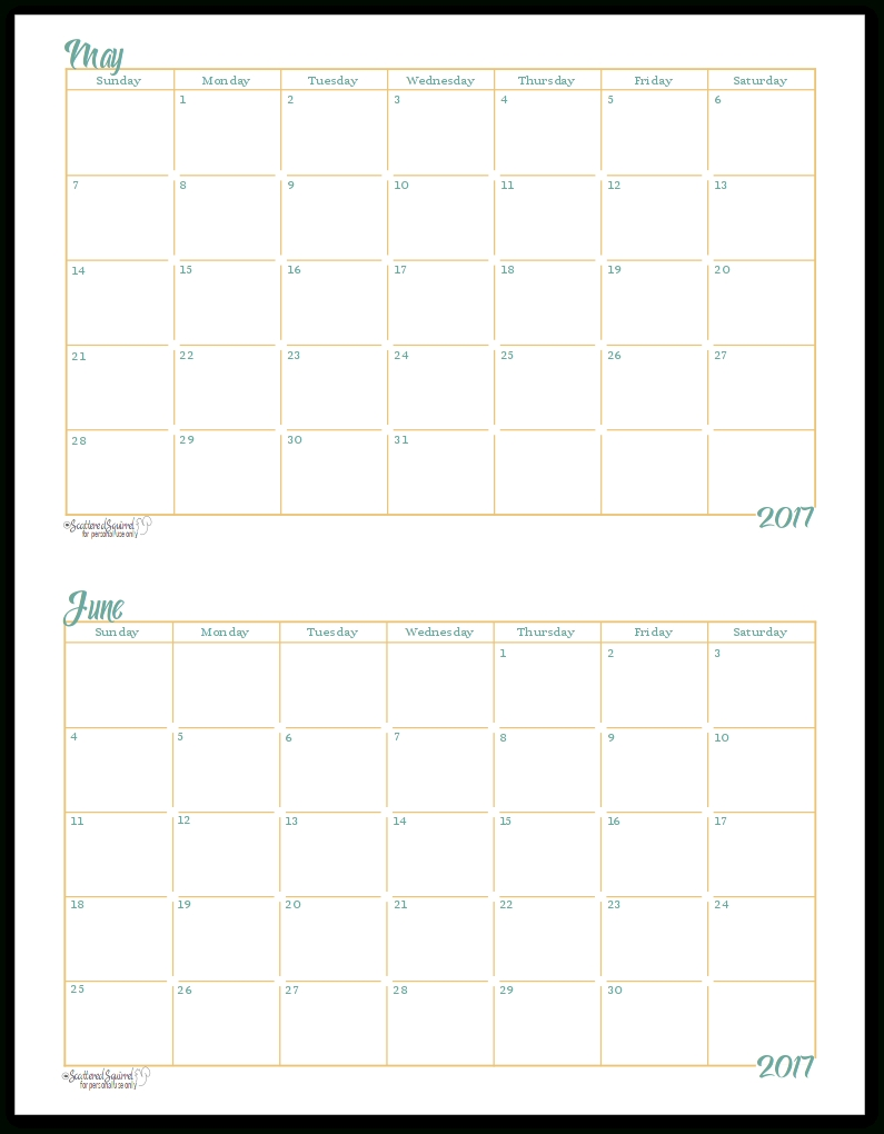 2017 Half-Size Monthly Calendar Printables | Monthly