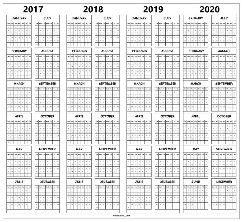 2017 To 2020 Calendar Printable Free | 4 Year Calendar