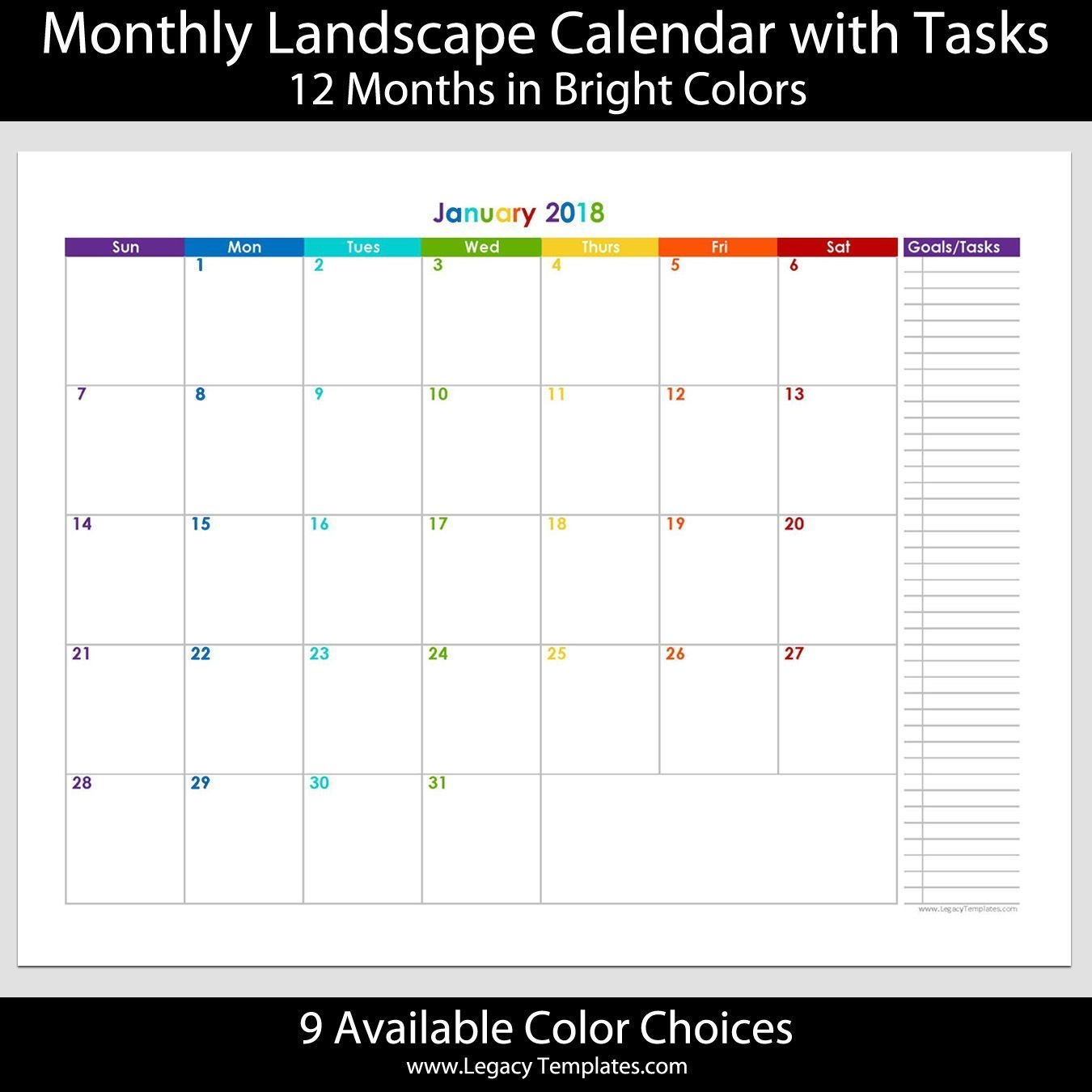 2018 - 12 Month Calendar With Tasks - Printable Calendars