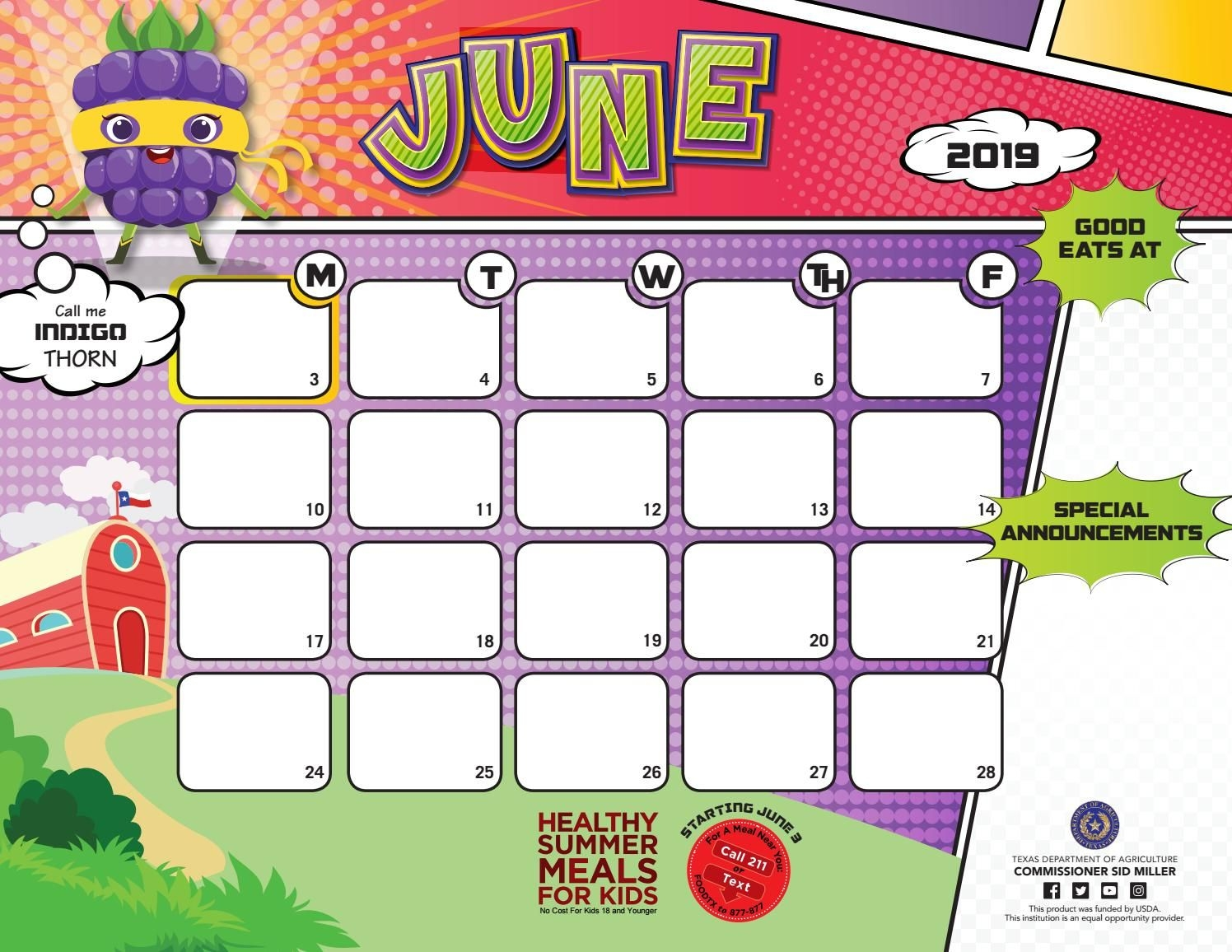 2018-19 June Menu Calendar Templates And Fun Facts For