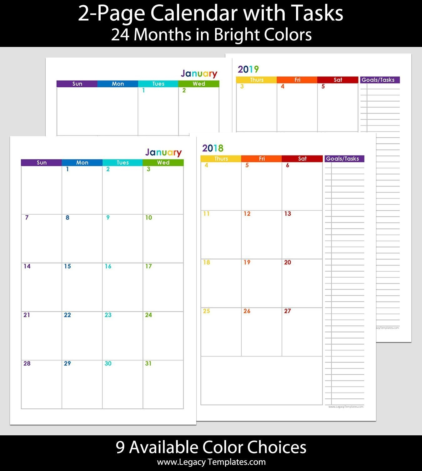 2018 & 2019 24-Months 2-Page Calendar. Printable 2-Page