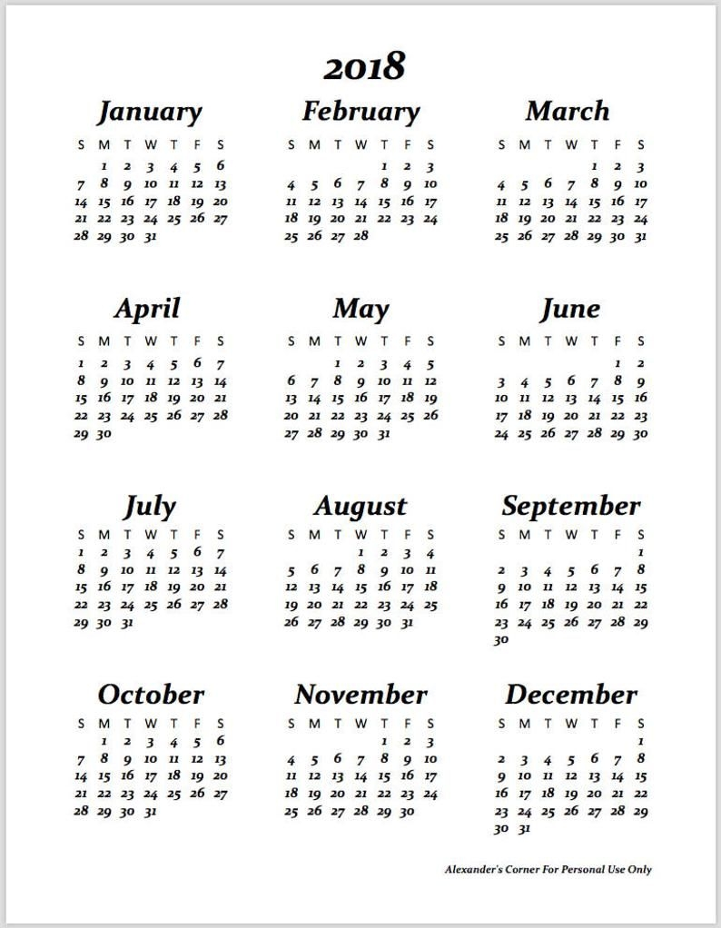"2018 & 2019 Calendar With Free ""belongs To"" Page, 8.5""x11"", Letter Size,  Planner Insert, Instant Download, Digital Download, Printable, Pdf"