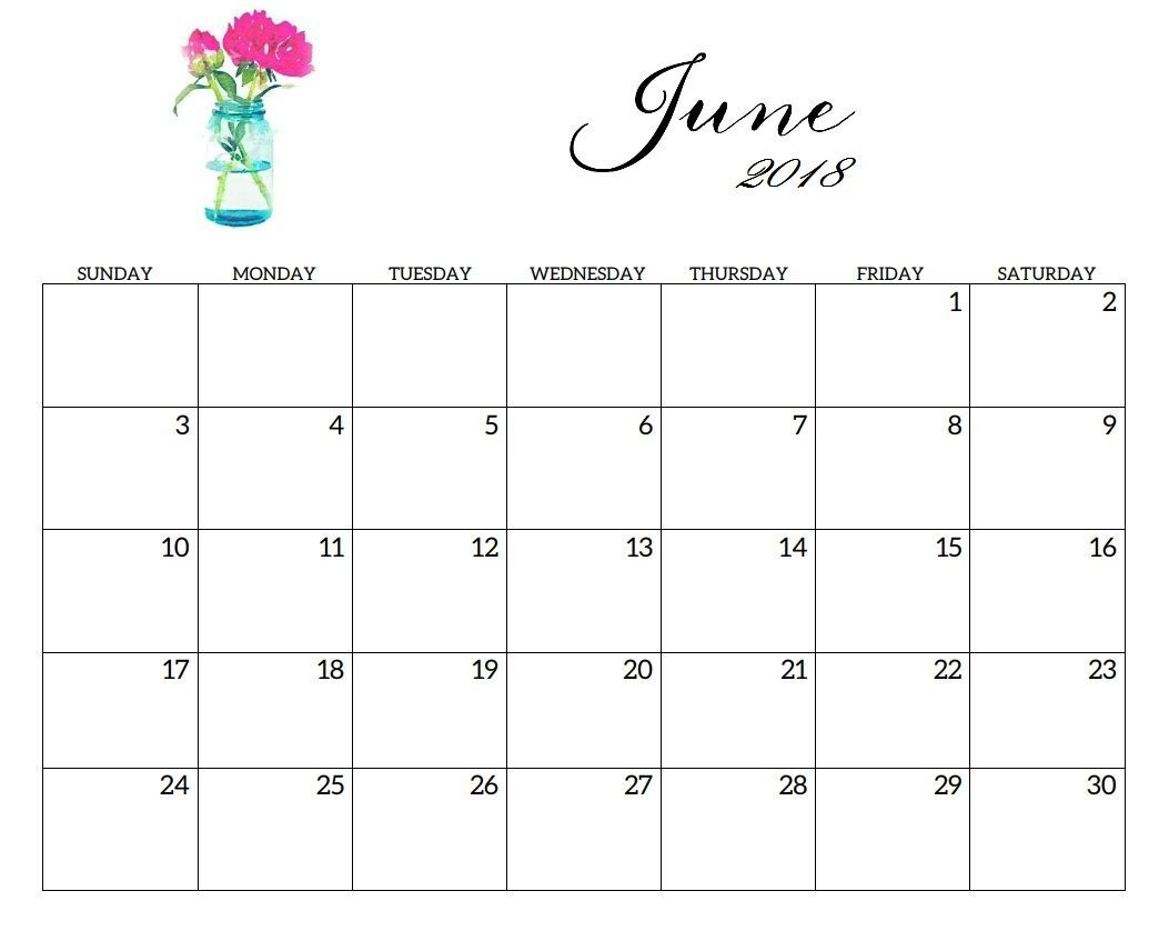 2018 June Calendar Printable Template With Holidays | June