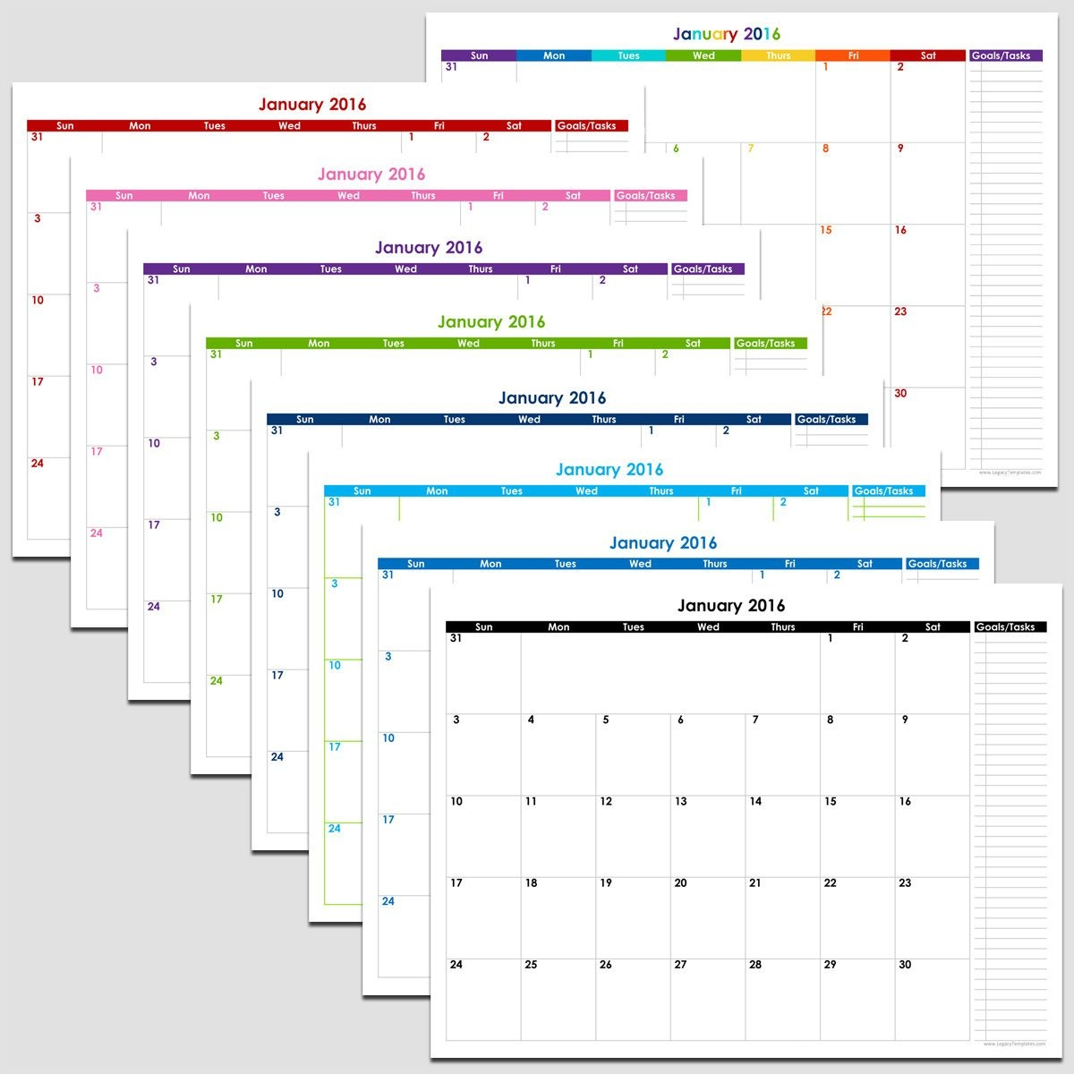 "2019 - 12 Month Calendar With Tasks - 8 1/2"" X 11"" 