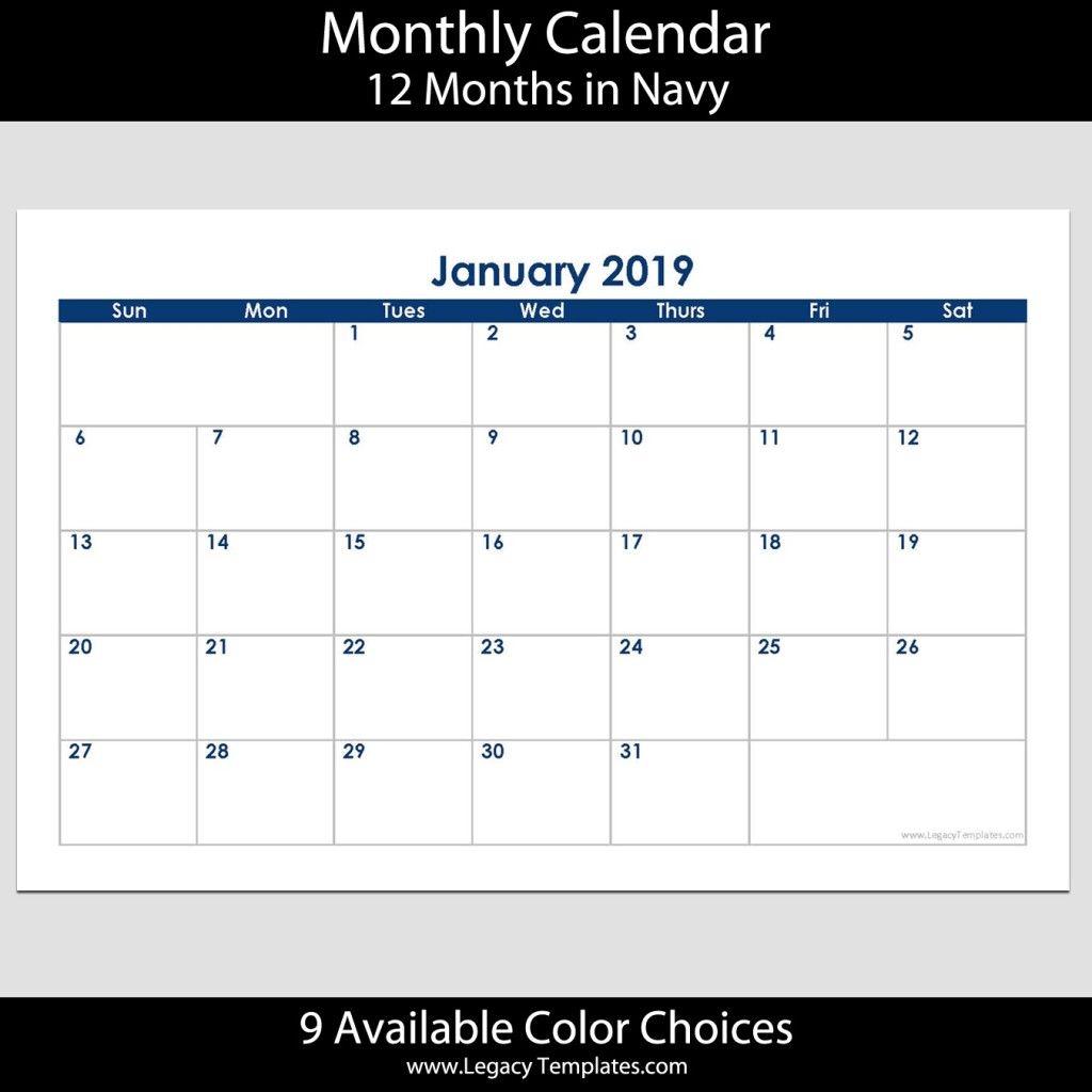 2019 12-Month Landscape Calendar – 5.5 X 8.5 | Legacy Templates