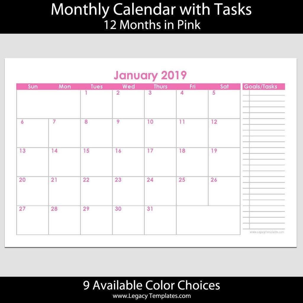 2019 12-Month Landscape Calendar With Tasks – 5.5 X 8.5