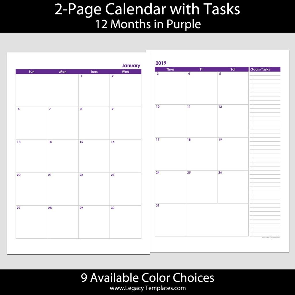 2019 12-Months 2-Page Calendar – A4 | Legacy Templates