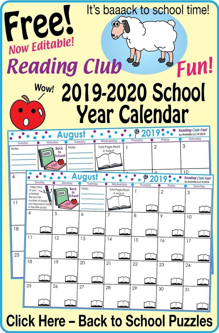 2019 - 2020 School Year Calendar (Editable) – Free Back To