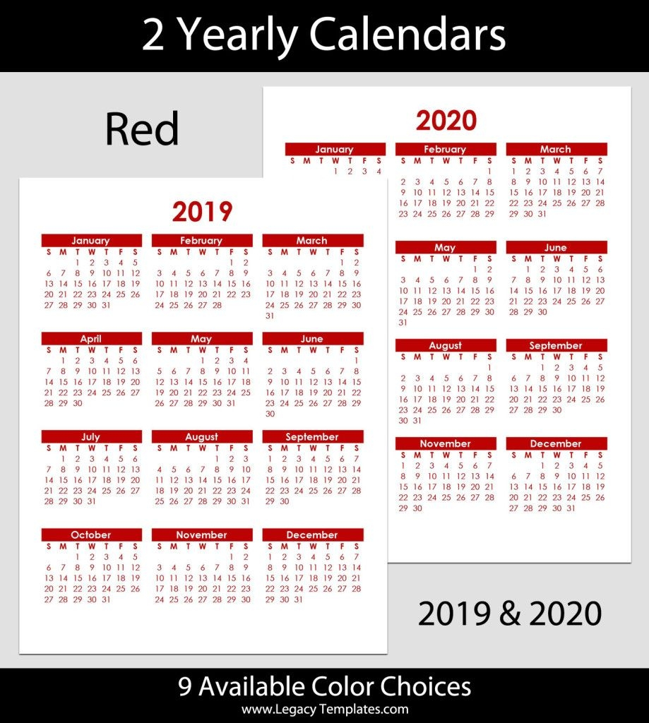 2019 & 2020 Yearly Calendar – 8.5 X 11 | Legacy Templates
