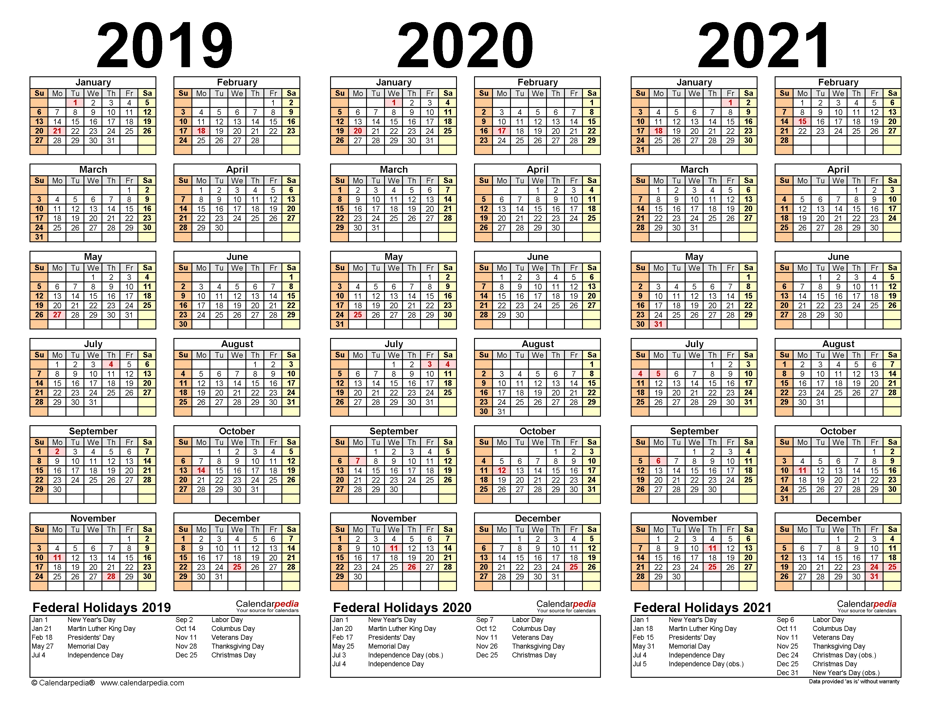 2019-2021 Three Year Calendar - Free Printable Pdf Templates
