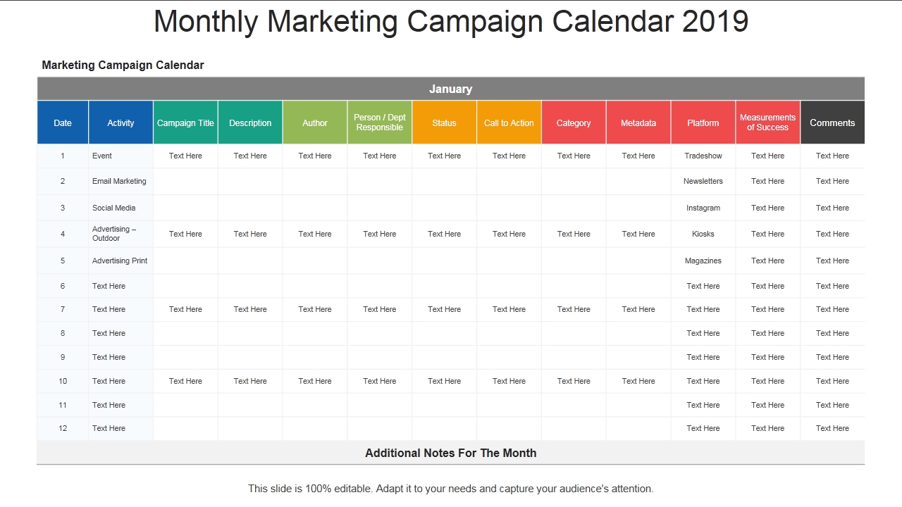 2019 Calendar: 13 Powerpoint Calendar Templates - The