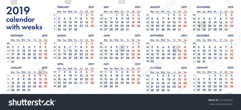 2019 Calendar Grid Weeks Numbers Vector Stock Vector