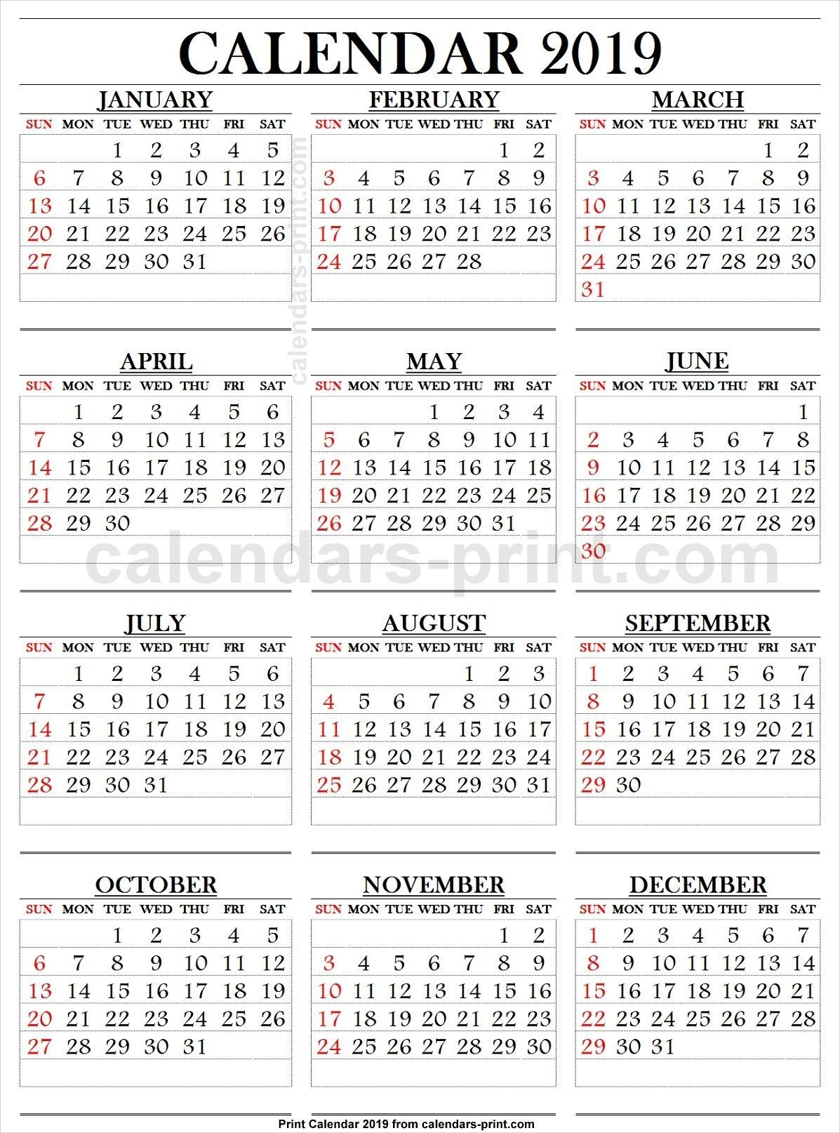 2019 Calendar Large Numbers (With Images) | 2019 Calendar